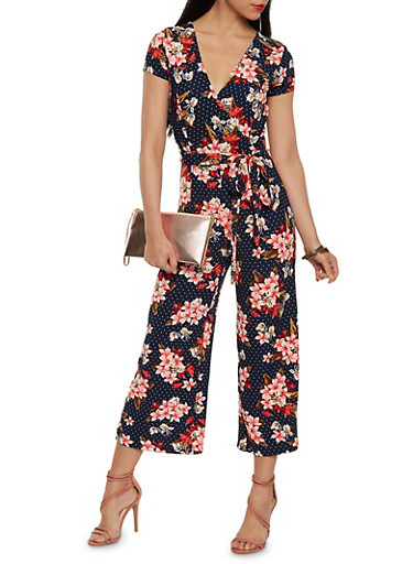 Printed Faux Wrap Cropped Jumpsuit,NAVY,large
