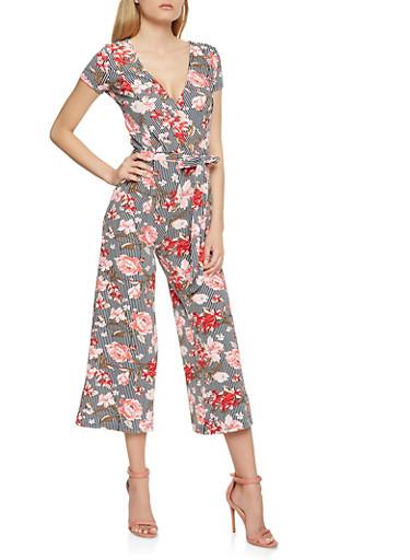 Floral Stripe Wide Leg Jumpsuit,NAVY,large