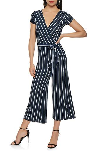 Striped Crepe Knit Wide Leg Jumpsuit | Tuggl
