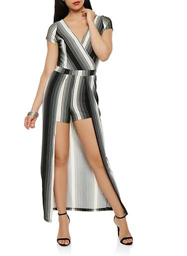 Striped Crepe Knit Maxi Romper,BLACK/WHITE,large