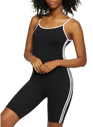 Varsity Stripe Soft Knit Romper,BLACK/WHITE,large