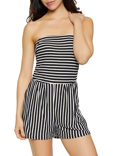 Soft Knit Striped Romper,BLACK/WHITE,large