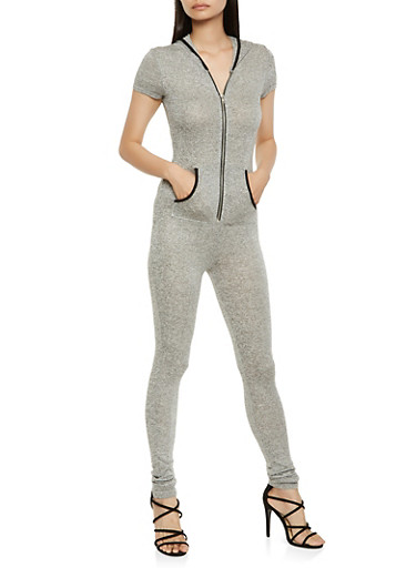 Zip Up Hooded Jumpsuit,HEATHER,large