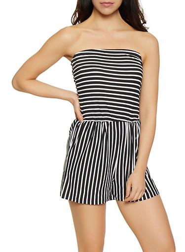 Striped Soft Knit Romper,BLACK/WHITE,large