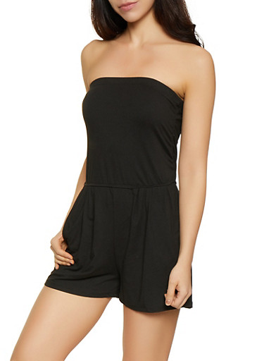 Solid Tube Romper,BLACK,large