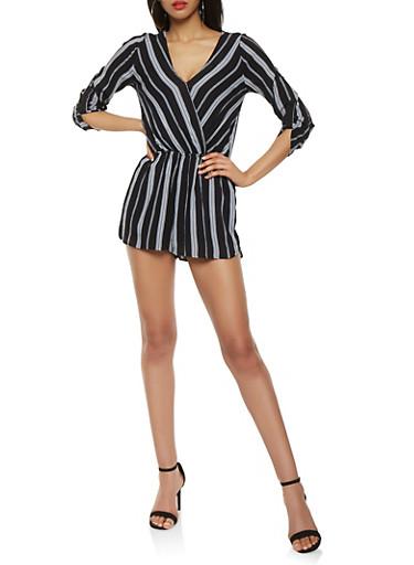 Striped Faux Wrap Romper,BLACK/WHITE,large