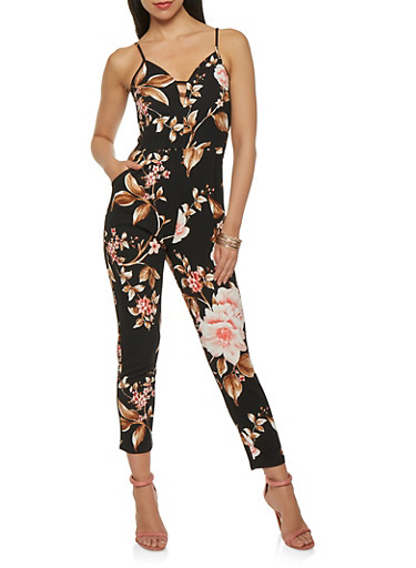 Floral Caged Neck Jumpsuit,BLACK,large