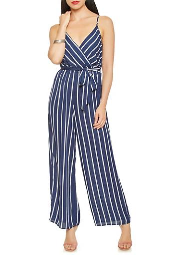 Striped Faux Wrap Jumpsuit,NAVY,large