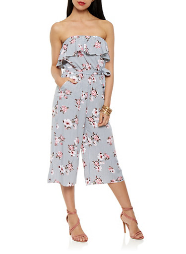 Printed Cropped Jumpsuit | Tuggl