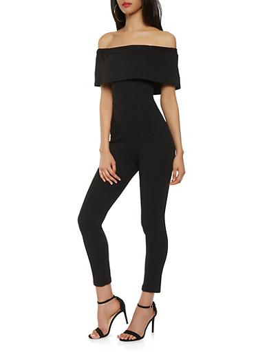 Textured Knit Off the Shoulder Jumpsuit,BLACK,large