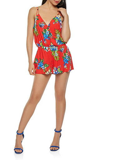 Floral Faux Wrap Romper,RED,large
