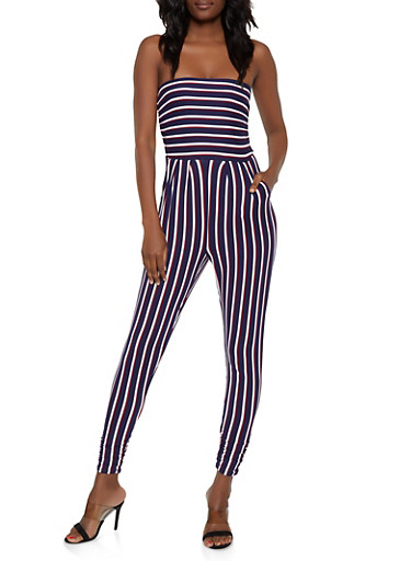 Striped Tube Jumpsuit | 0045073371906,NAVY,large