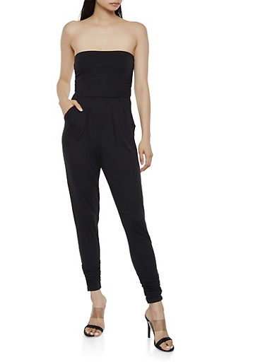 Soft Knit Ruched Tube Jumpsuit,BLACK,large