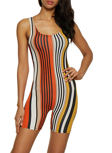 Vertical Stripe Romper,RUST,large
