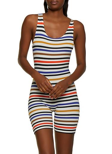 Horizontal Stripe Soft Knit Romper,WHITE,large