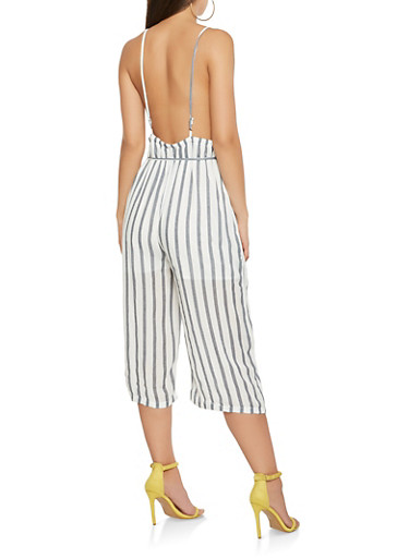 Striped Low Back Cropped Jumpsuit,WHITE/BLUE,large