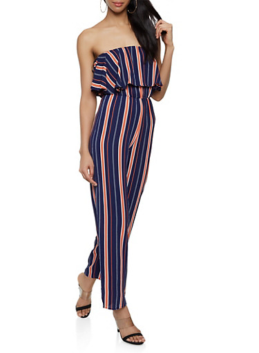 Striped Crepe Knit Tube Jumpsuit,NAVY,large