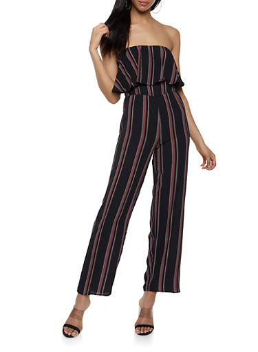 Striped Wide Leg Tube Jumpsuit,IVORY,large