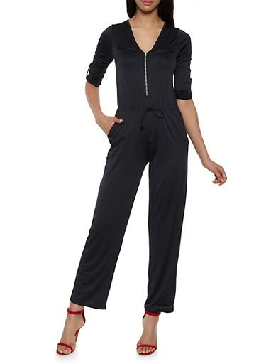 Zip Neck Jumpsuit,BLACK,large