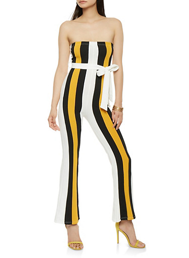 Strapless Striped Jumpsuit,BONE,large