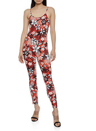 Soft Knit Floral Catsuit,RUST,large