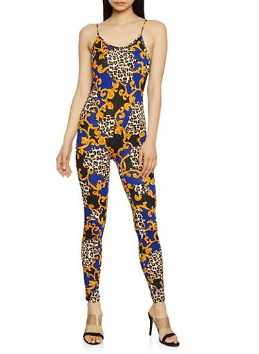 Leopard Status Print Catsuit,BLUE,large