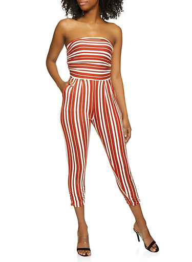 Striped Tube Jumpsuit | 0045075179096,RUST,large