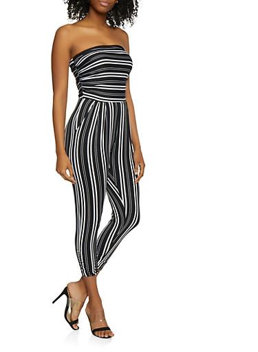 Striped Strapless Jumpsuit   0045075179118,BLACK,large