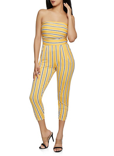 Ruched Leg Striped Jumpsuit,MUSTARD,large