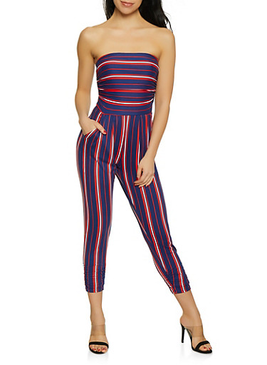 Soft Knit Ruched Striped Jumpsuit,NAVY,large