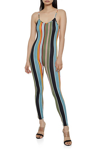 Multi Color Striped Catsuit,MULTI COLOR,large