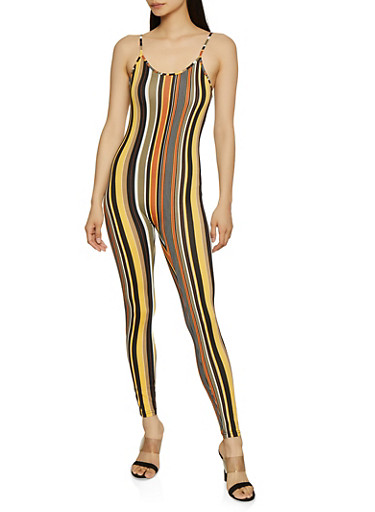 Striped Soft Knit Catsuit,MUSTARD,large