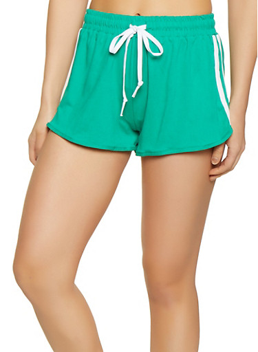 Soft Knit Varsity Stripe Dolphin Shorts,GREEN,large