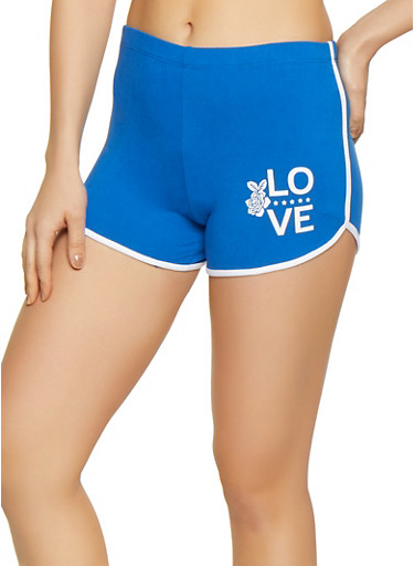 Soft Knit Love Graphic Dolphin Shorts,BLUE,large