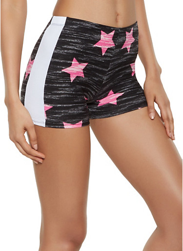 Marled Star Print Bike Shorts,BLACK,large