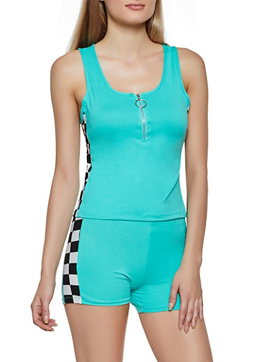 Soft Knit Checkered Detail Tank Top,TEAL,large