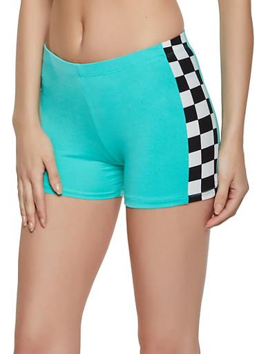 Soft Knit Checkered Detail Bike Shorts,TEAL,large