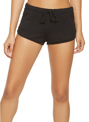 Solid Dolphin Shorts,BLACK,large