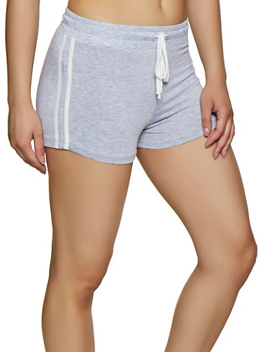 Varsity Stripe Shorts,HEATHER,large