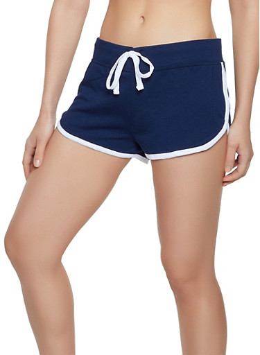 Contrast Trim Dolphin Shorts | 0056054263960,NAVY,large