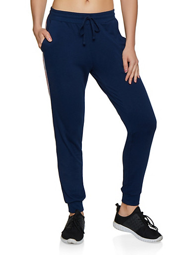 Tape Trim French Terry Lined Joggers,BLUE,large