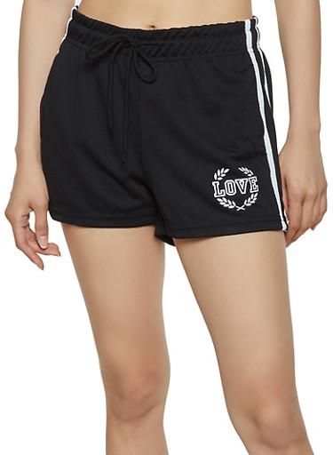 Love Varsity Stripe Track Shorts,BLACK,large