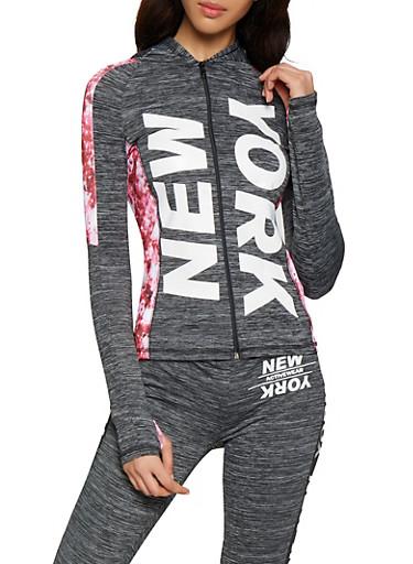 New York Color Block Activewear Sweatshirt,CHARCOAL,large