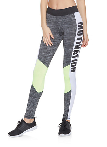 Motivation Graphic Active Leggings,LIME,large