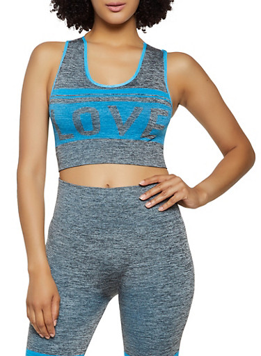 Marled Love Graphic Active Crop Top,TURQUOISE,large