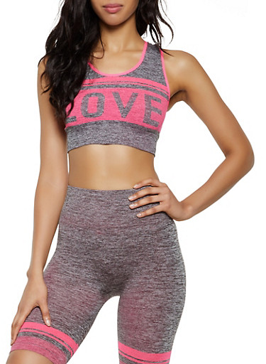 Marled Love Graphic Active Crop Top,PINK,large