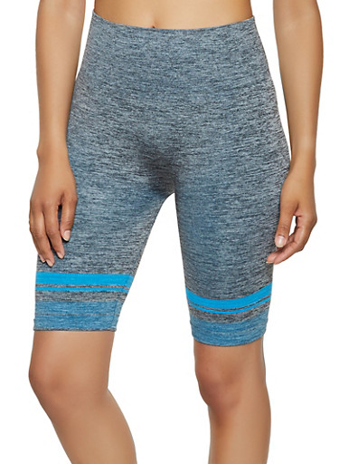 Marled Bike Shorts,TURQUOISE,large