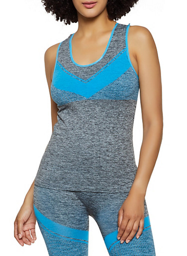 Marled Chevron Detail Active Tank Top,TURQUOISE,large
