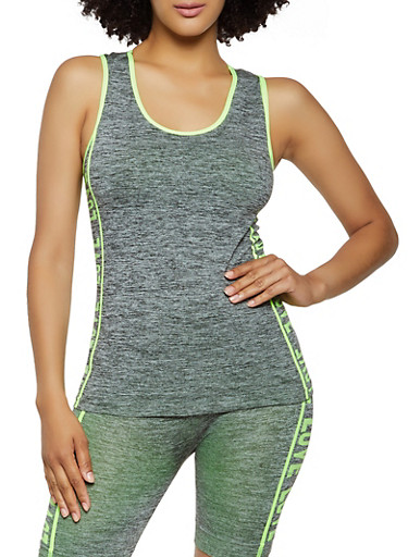 Love Graphic Trim Seamless Active Tank Top,LIME,large