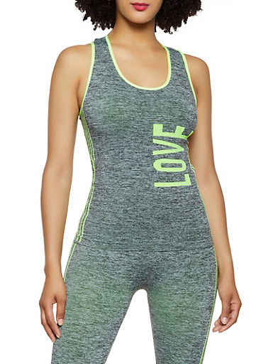 Love Graphic Seamless Active Tank Top,LIME,large